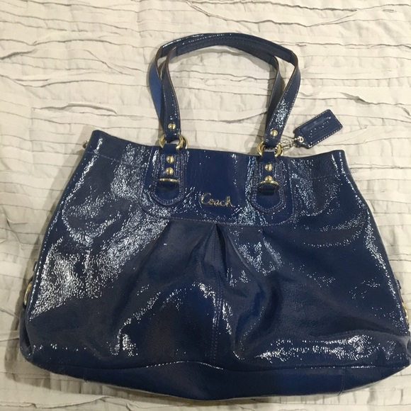 316b7903c2 ... italy authentic coach purse navy blue patent leather b3d73 5772a
